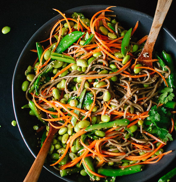 Sugar Snap Pea and Carrot Soba Noodles Spring Recipe