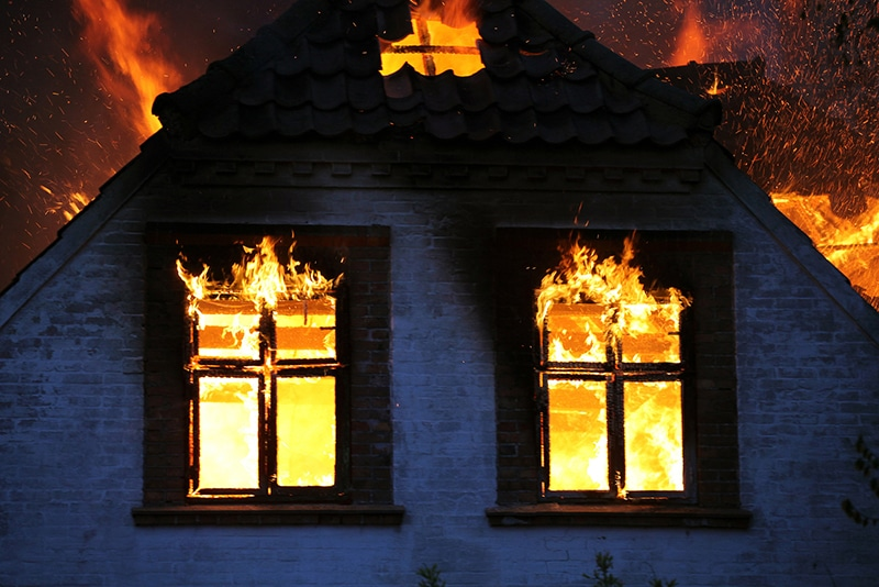 What is Covered by Fire Insurance?a house on fire