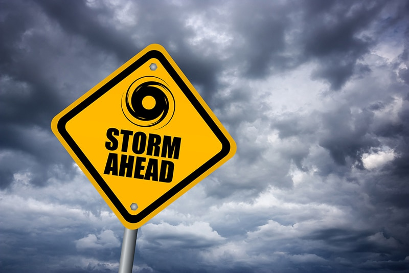 a storm ahead sign