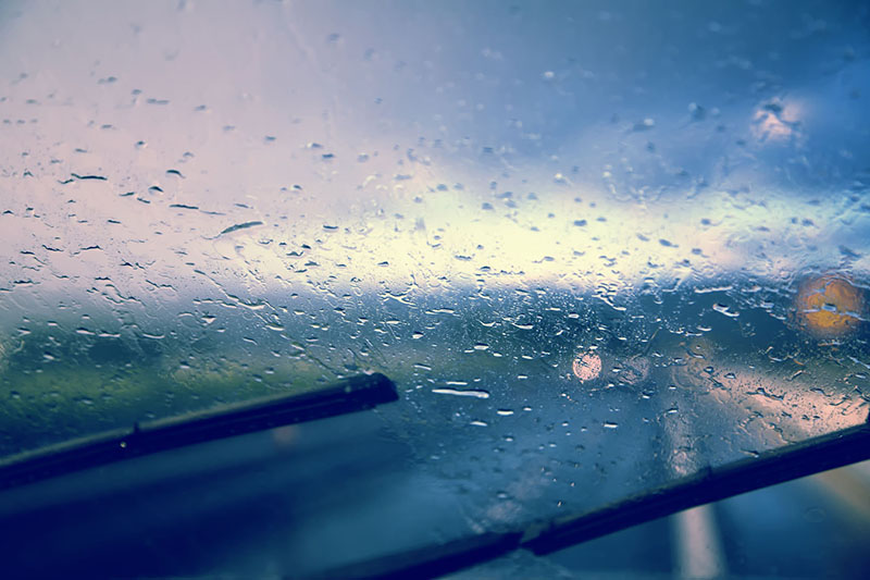 point of view of driving in the rain